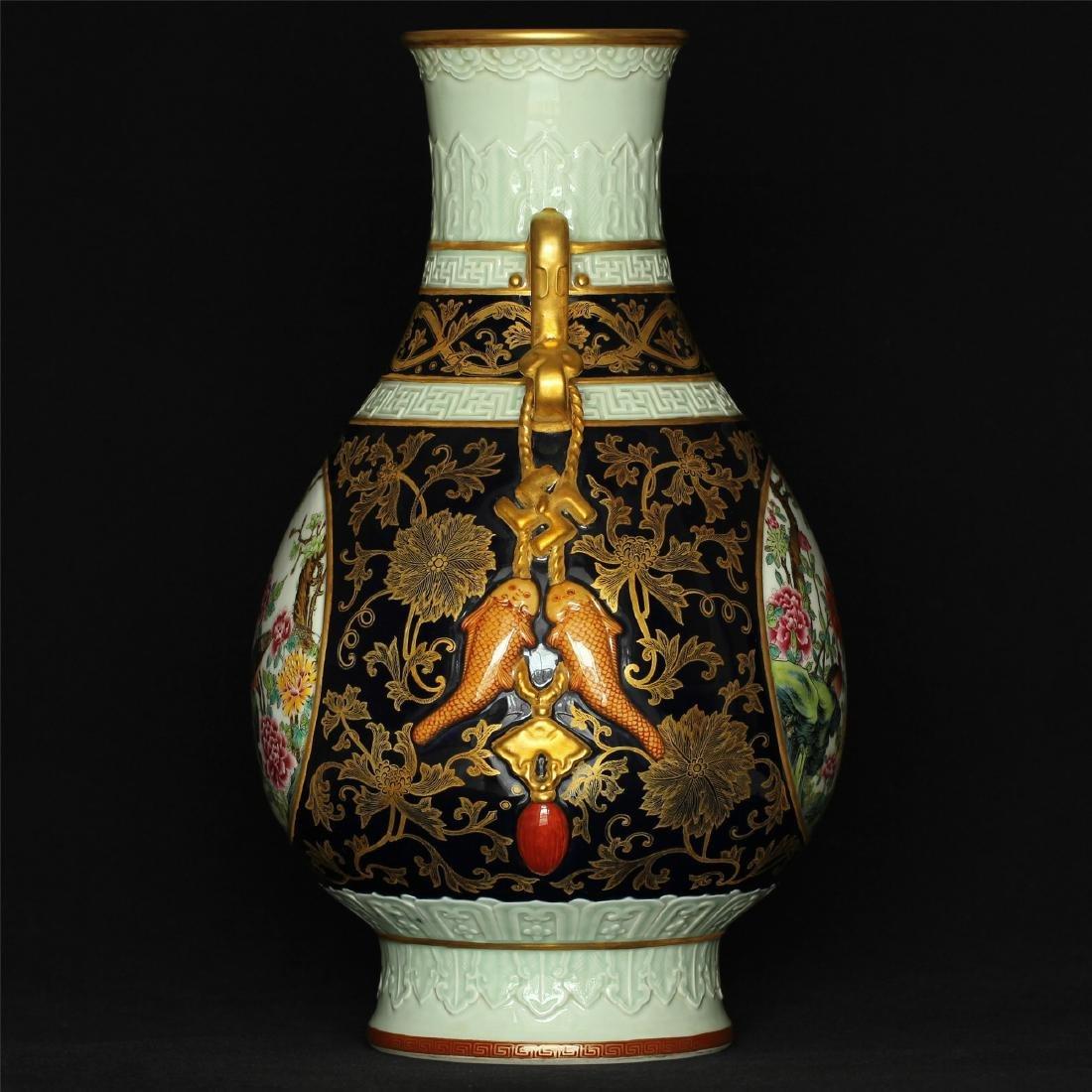 Black glaze gilt & famille rose porcelain vase of Qing - 4
