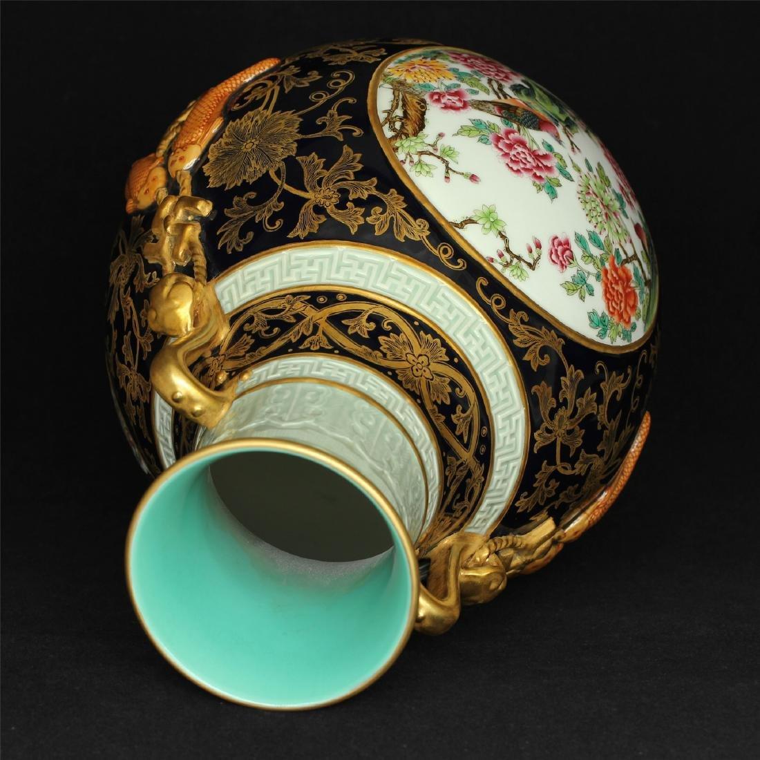 Black glaze gilt & famille rose porcelain vase of Qing - 5