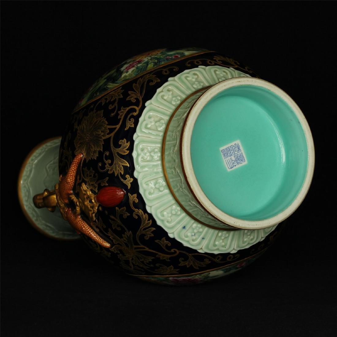 Black glaze gilt & famille rose porcelain vase of Qing - 6