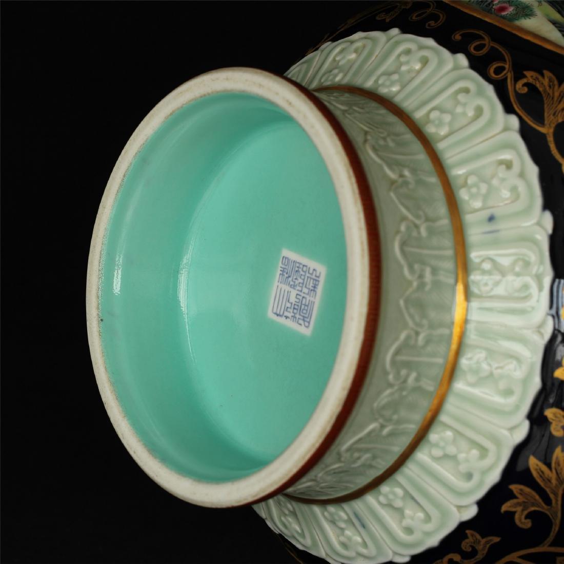 Black glaze gilt & famille rose porcelain vase of Qing - 7