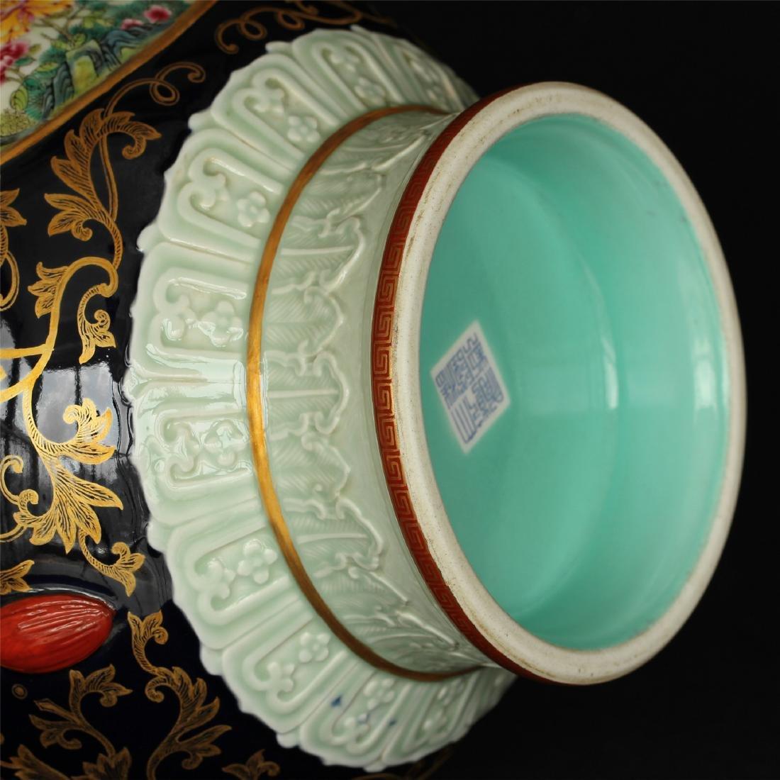 Black glaze gilt & famille rose porcelain vase of Qing - 8