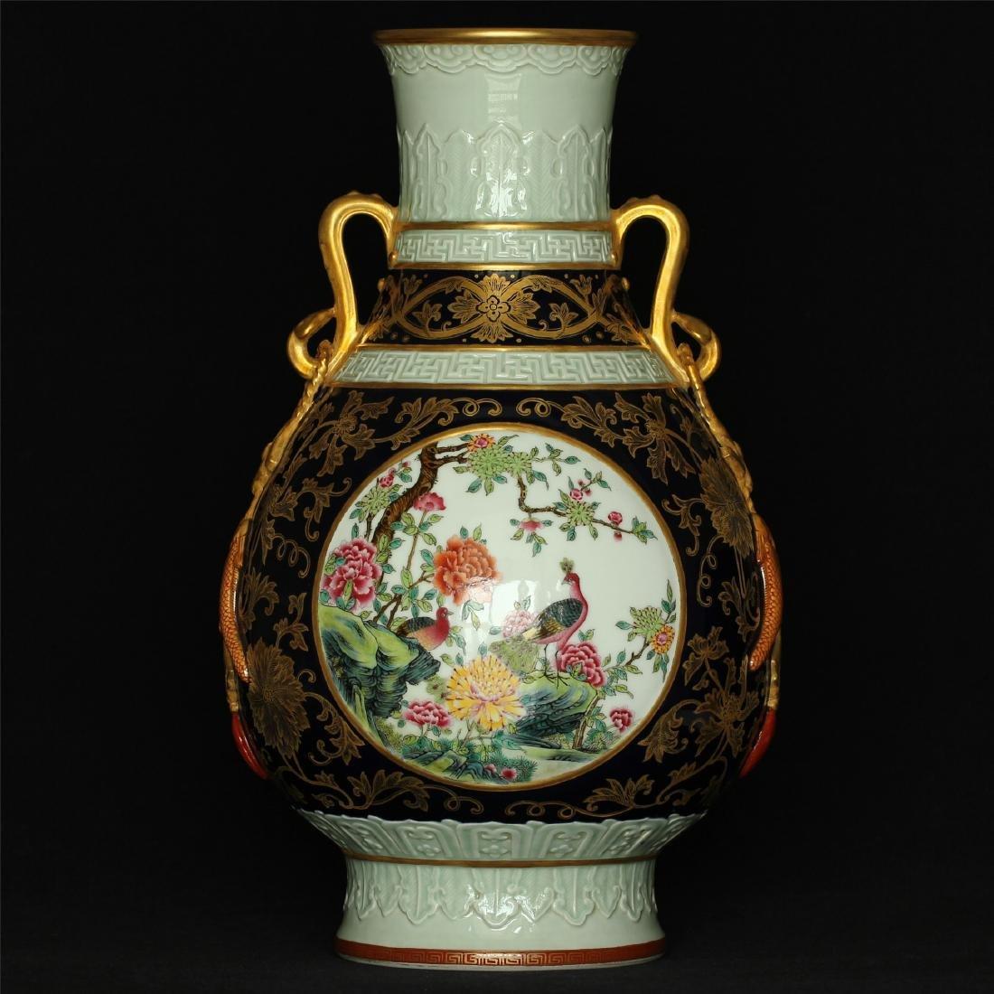 Black glaze gilt & famille rose porcelain vase of Qing - 9