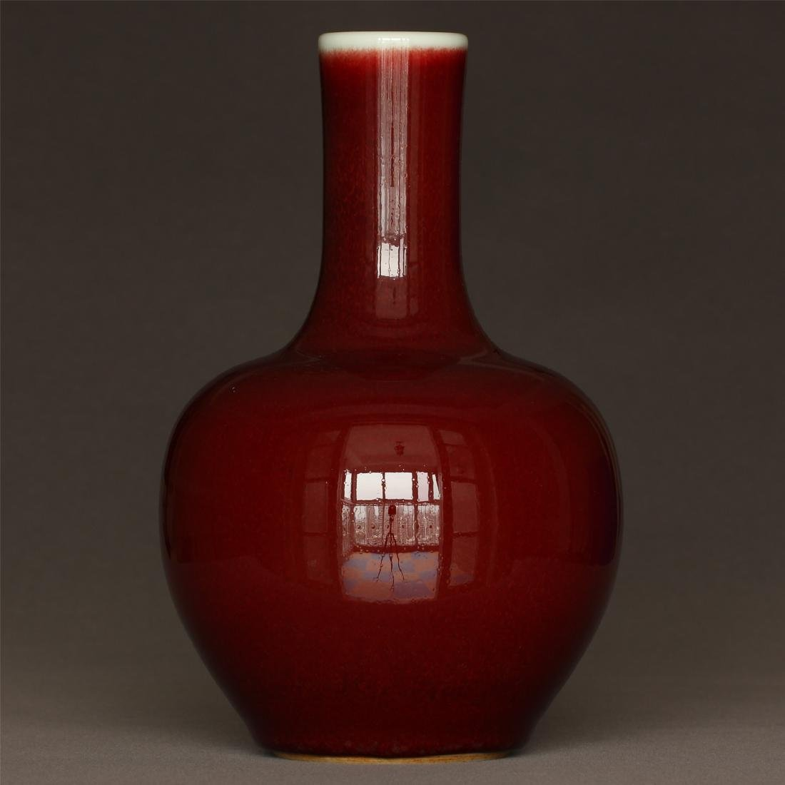 Red glaze porcelain vase of Qing Dynasty KangXi mark.