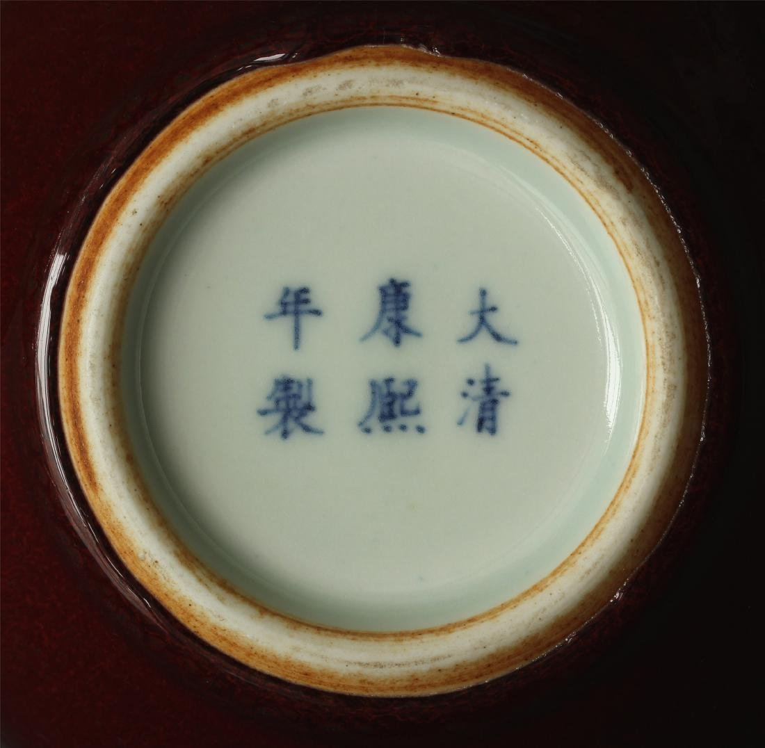 Red glaze porcelain vase of Qing Dynasty KangXi mark. - 2