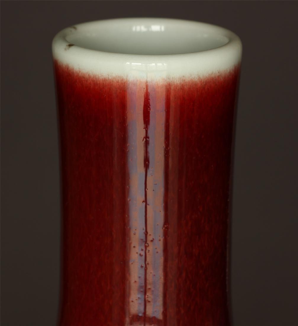 Red glaze porcelain vase of Qing Dynasty KangXi mark. - 5