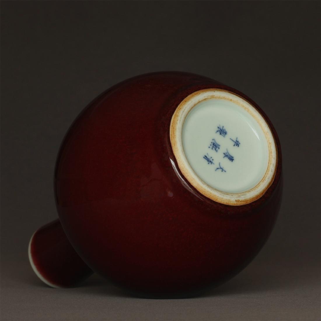 Red glaze porcelain vase of Qing Dynasty KangXi mark. - 9