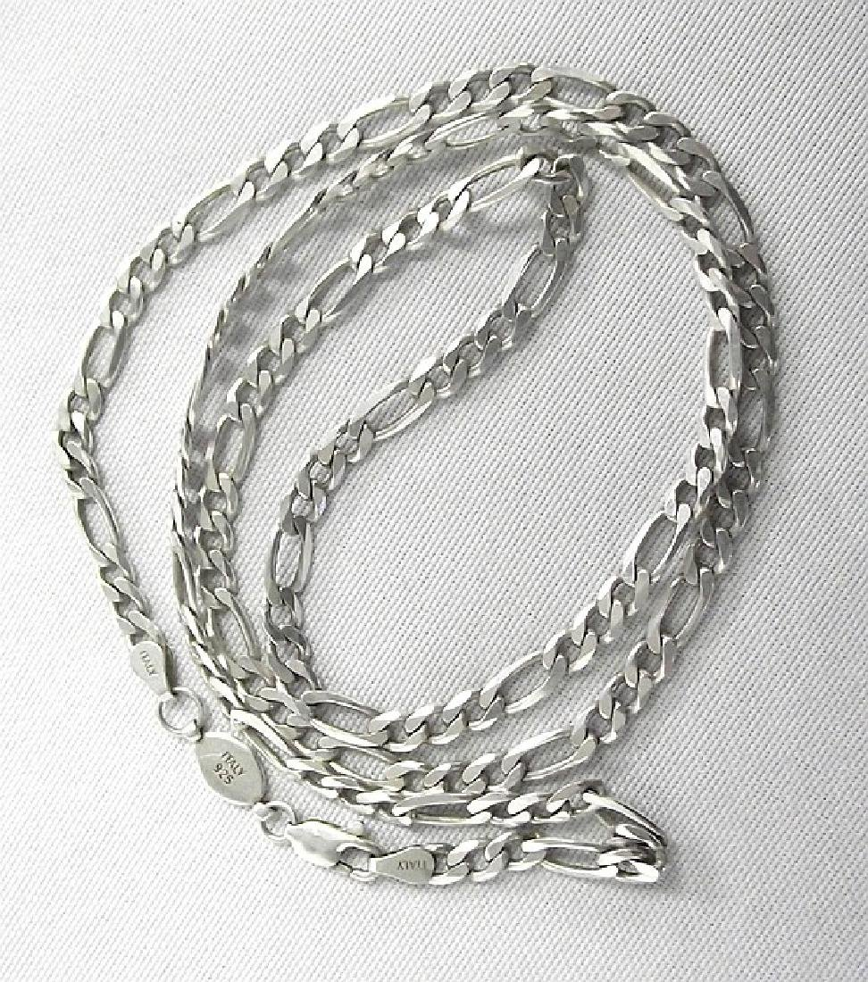 Italian Sterling Silver Figaro Chain, measures 25'' end