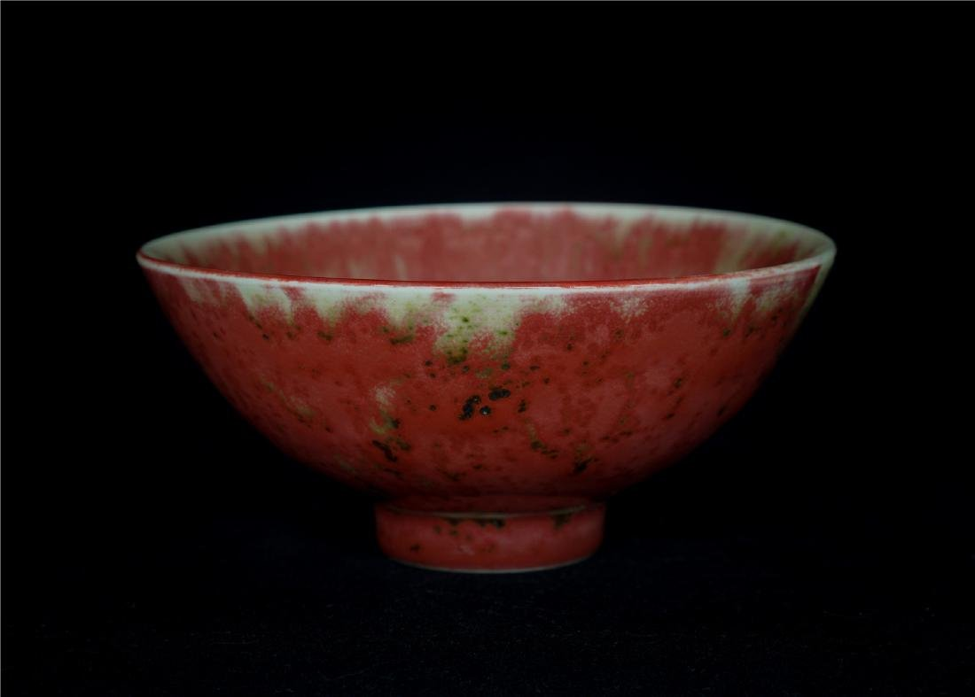 Red glaze porcelain bowl of Qing Dynasty KangXi mark.