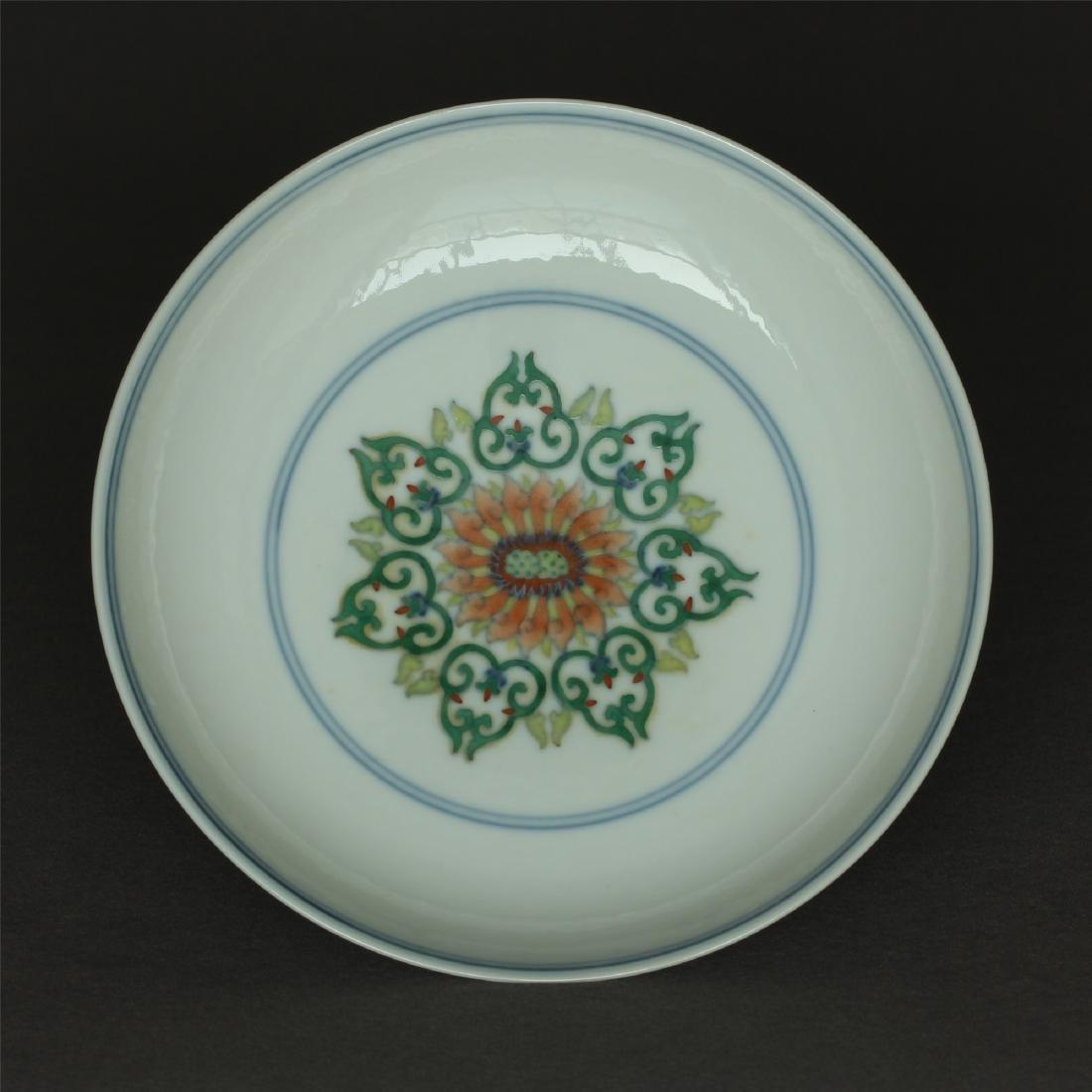 Doucai porcelain plate of Qing Dynasty QianLong mark.