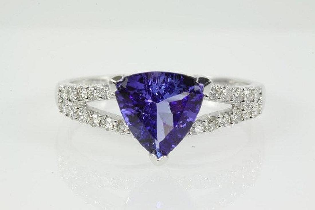 Trilliant cut Tanzanite and Diamond Ring)