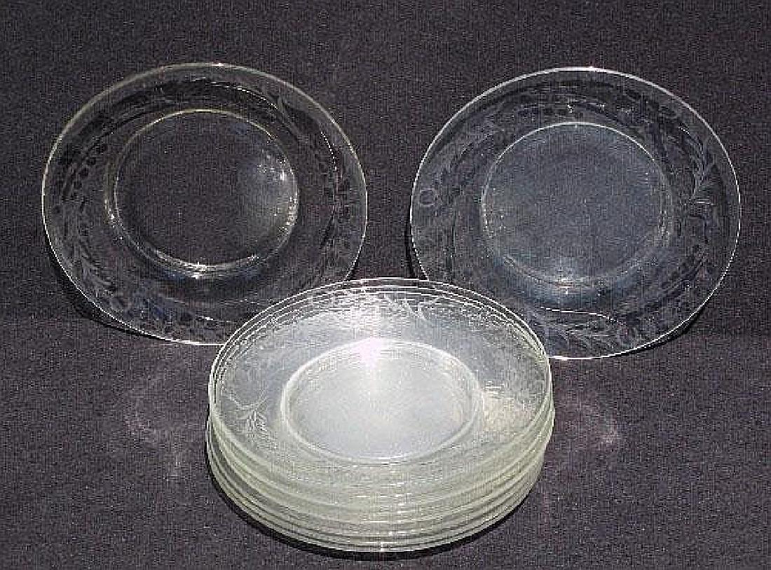 Set of 10 American elegant etched glass salad plates.