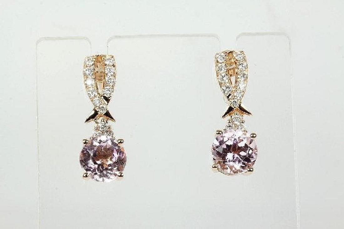 Kunzite and Diamond earrings with Round Kunzites