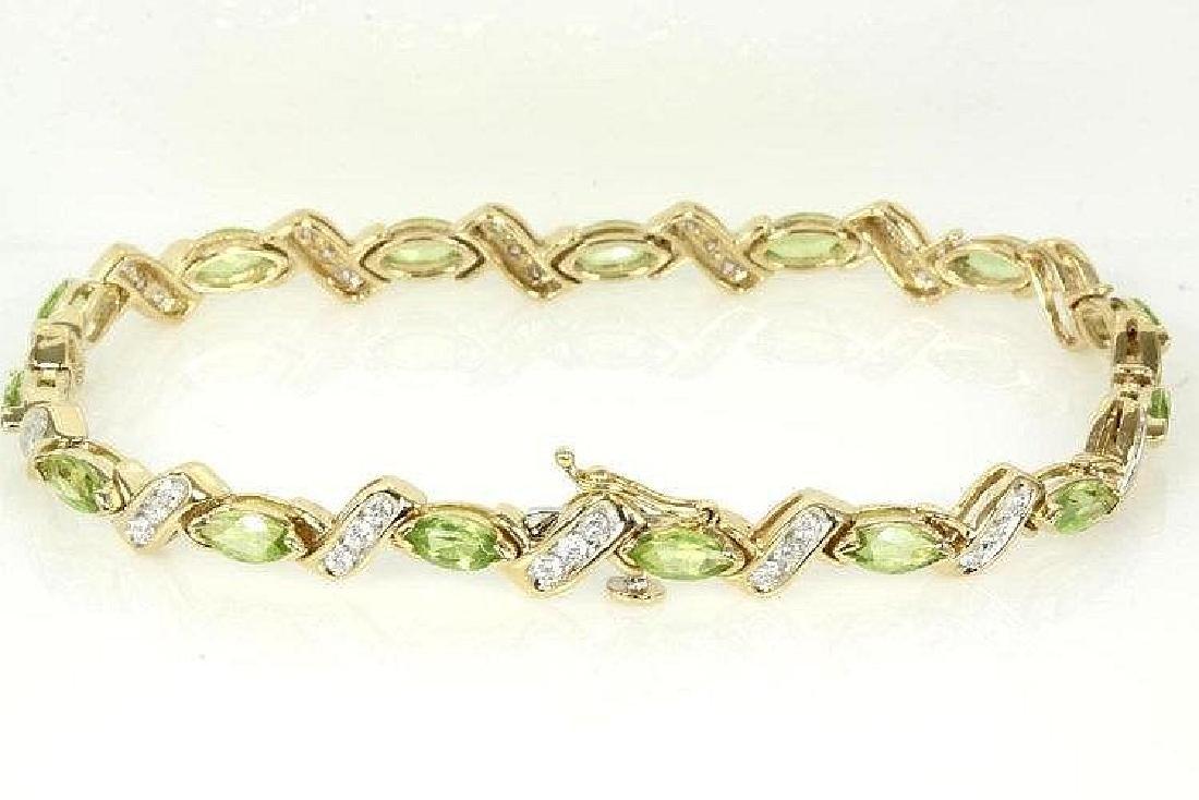 Peridot and Diamond bracelet with Marquise Peridots