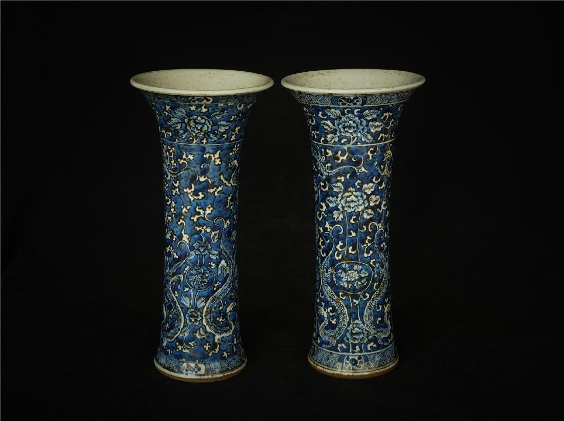 Pair Blue and white porcelain vases.