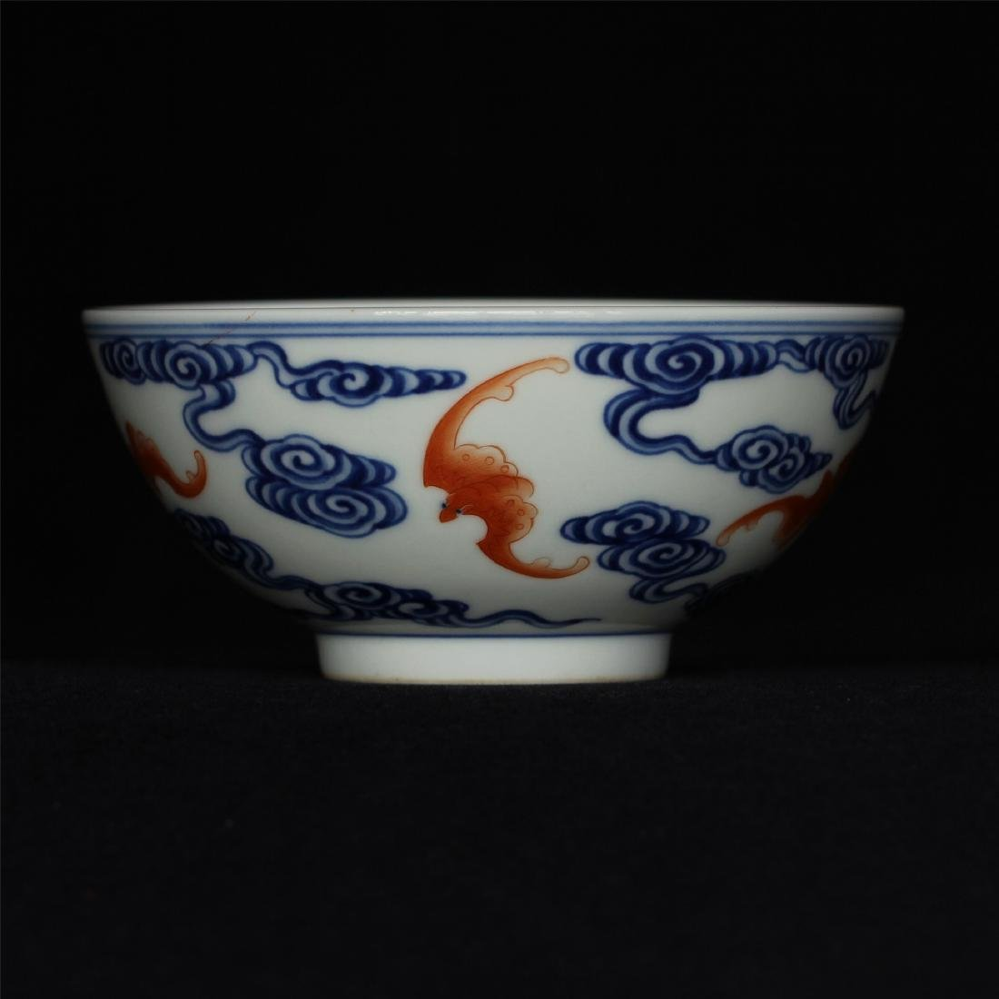 Blue and white & red color porcelain bowl of Qing