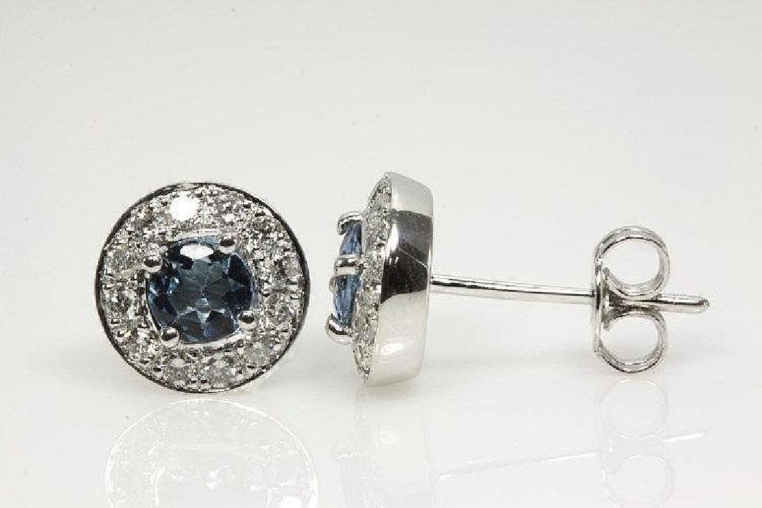 Aquamarine and Diamond earrings with Round Aquamarines