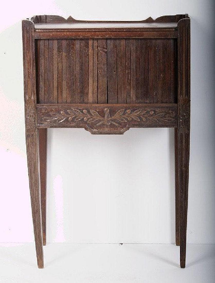 Provincial carved walnut tambour door side cabinet,