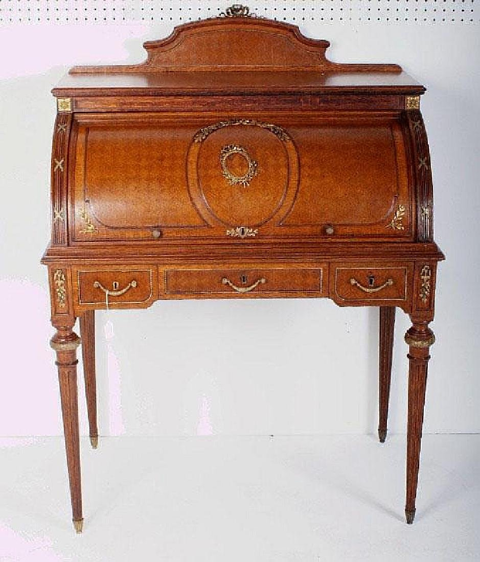Louis XVI style bronze-mounted oak roll top desk,