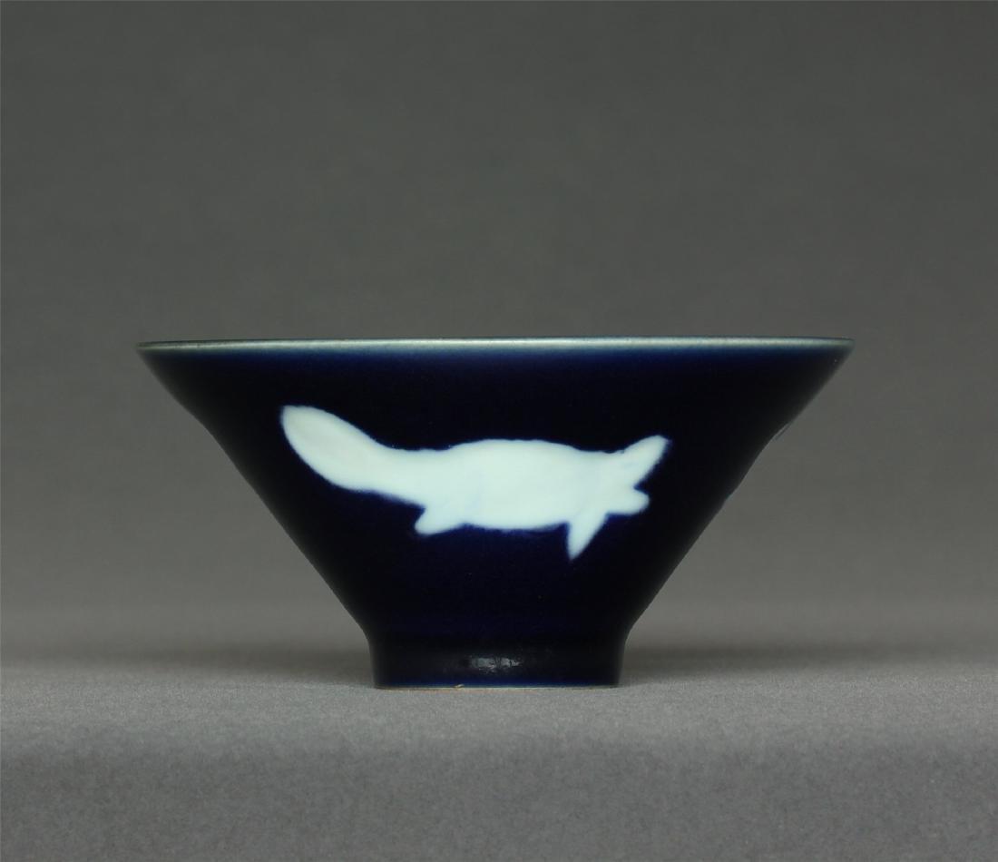 Blue glaze porcelain bowl of Ming Dynasty XuanDe mark.