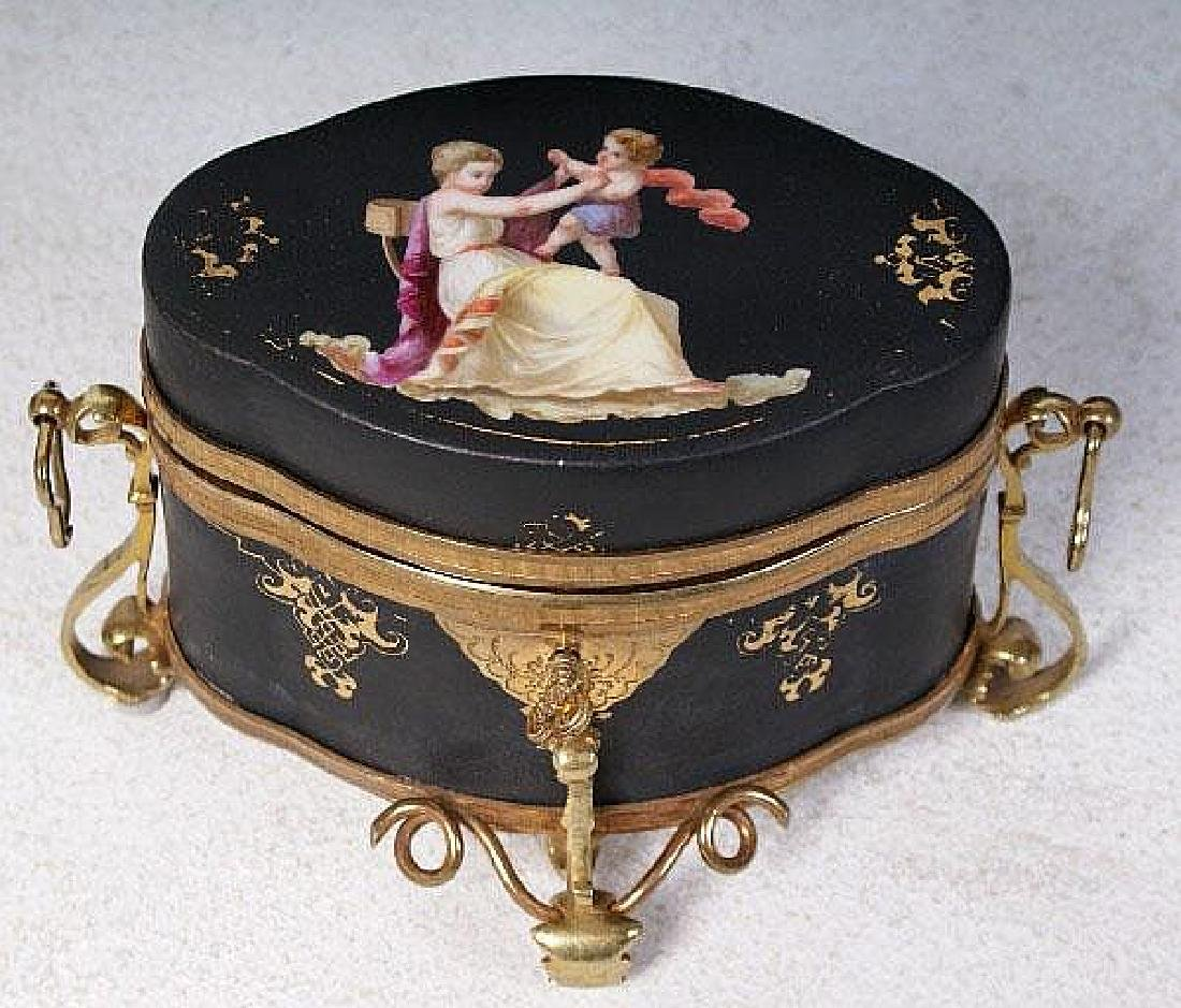 French gilt-bronze and porcelain painted box, 19th