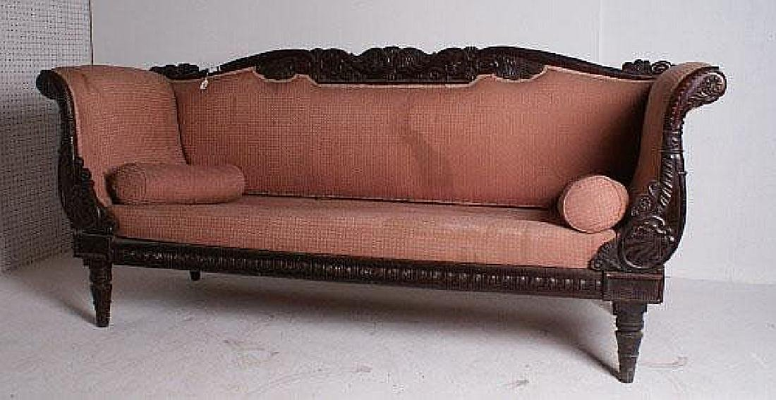 William IV style carved mahogany sofa, 19th century.