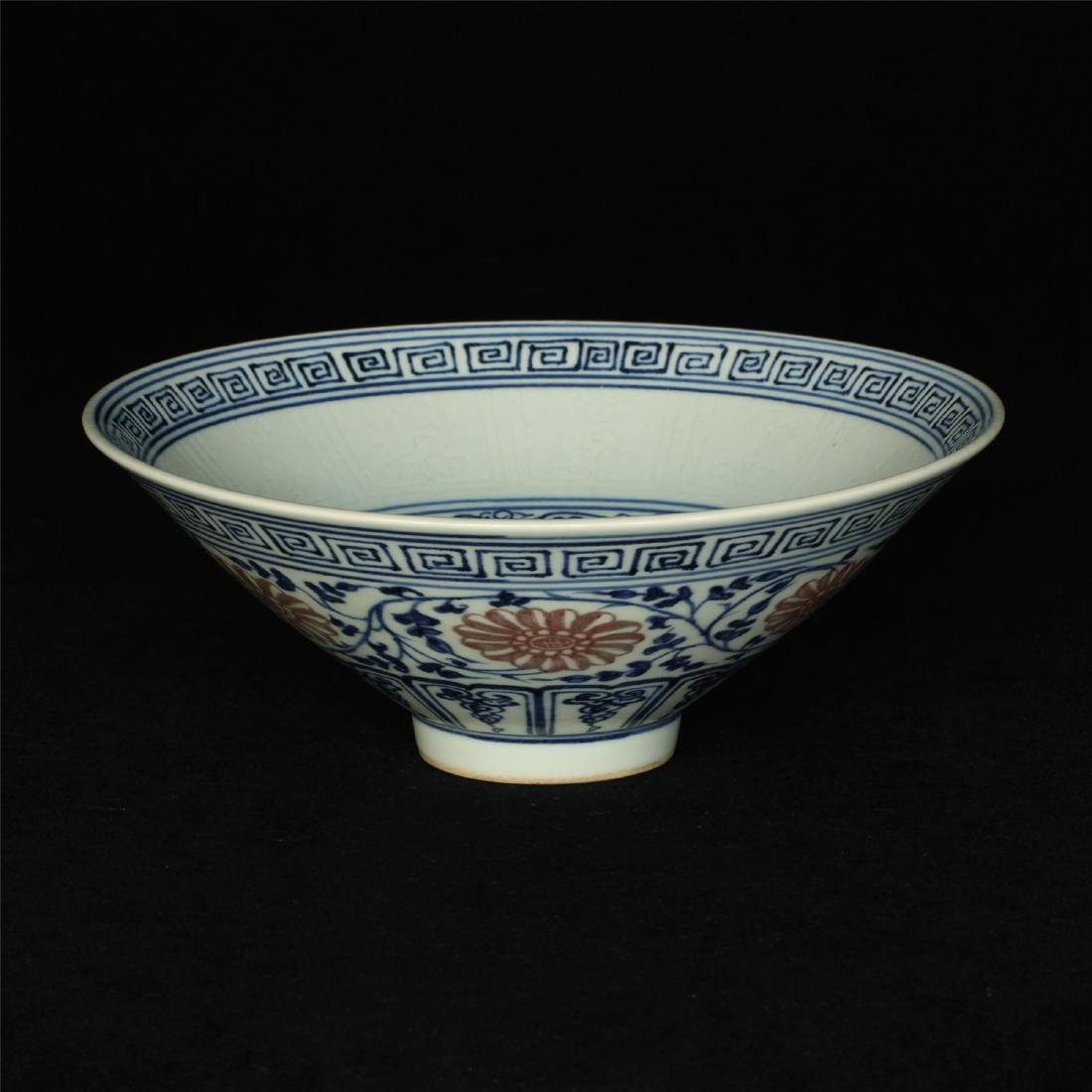 Blue and white & underglaze red porcelain bowl.