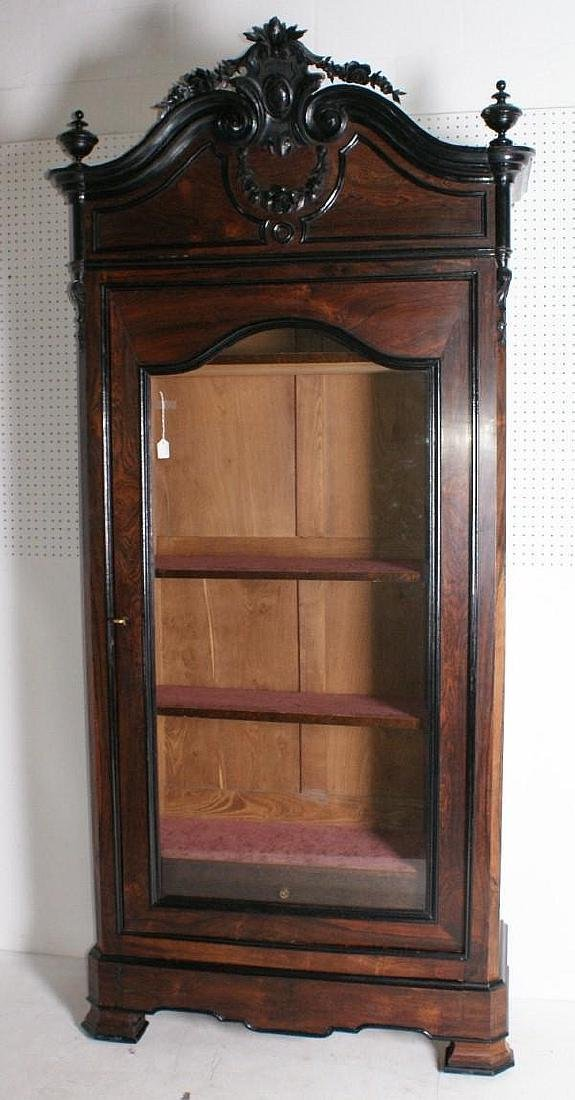 Victorian Rococo Revival carved rosewood single door
