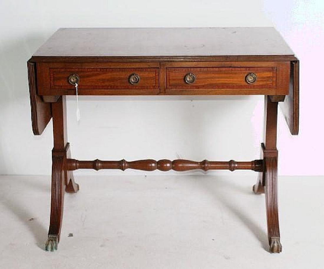 Regency style inlaid mahogany drop leaf sofa table with