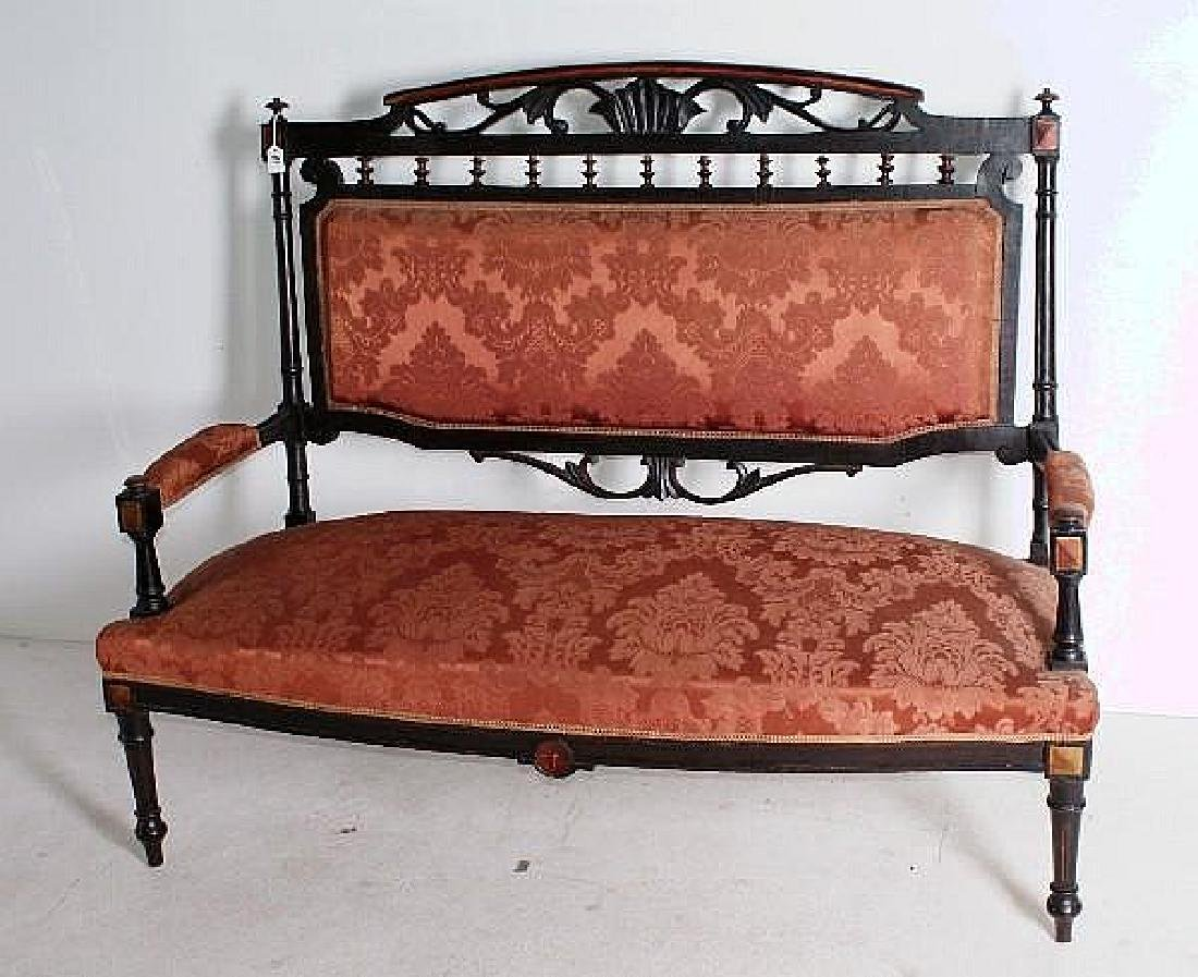Victorian Eastlake style loveseat with rose damask