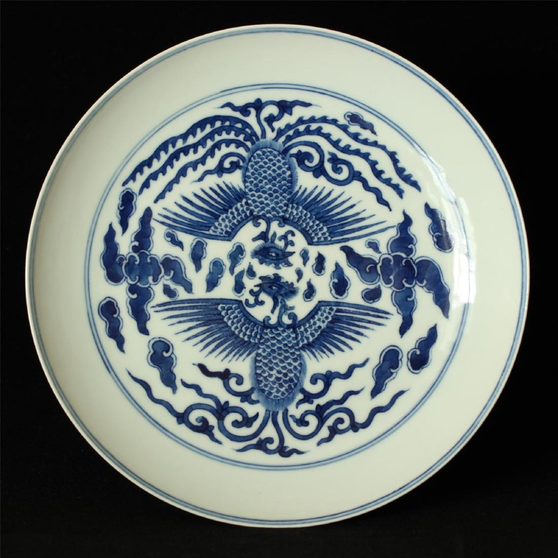 Blue and white porcelain plate of Qing Dynasty KangXi