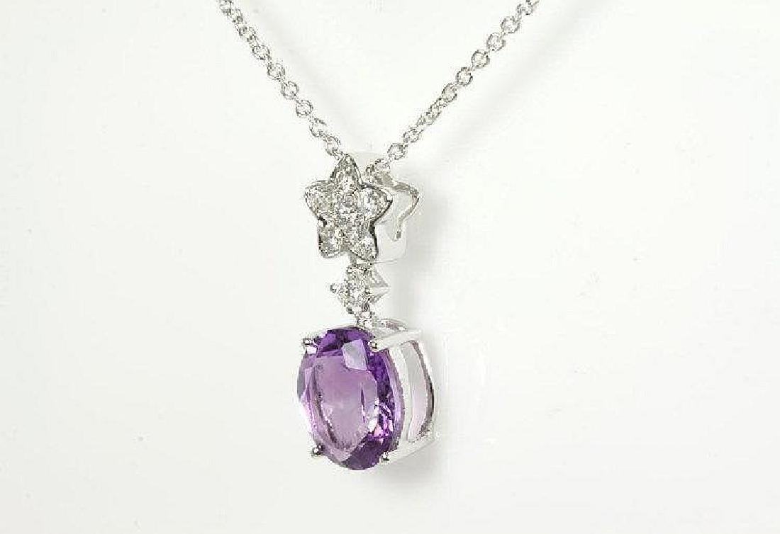 Amethyst and Diamond pendant with Oval Amethyst