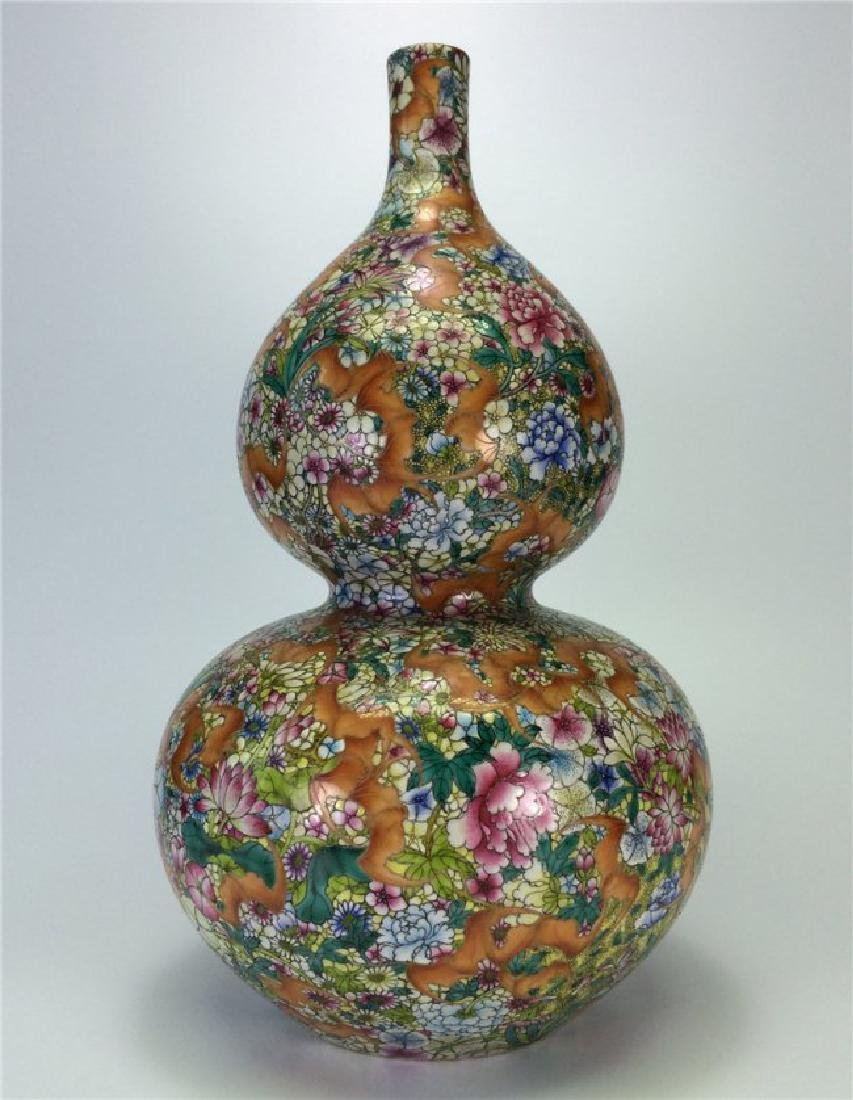 Chinese Exquisite flower gourd porcelain vase of Qing