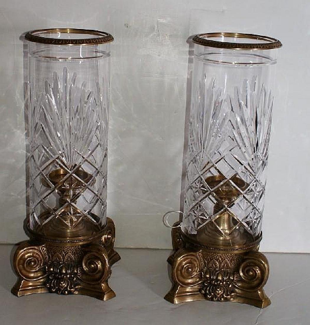 Pair of Continental bronze and crystal lanterns.