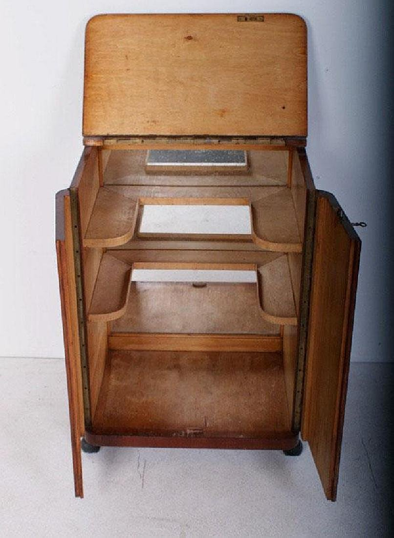 "Art Deco style mahogany rolling liquor cabinet. H: 29"""