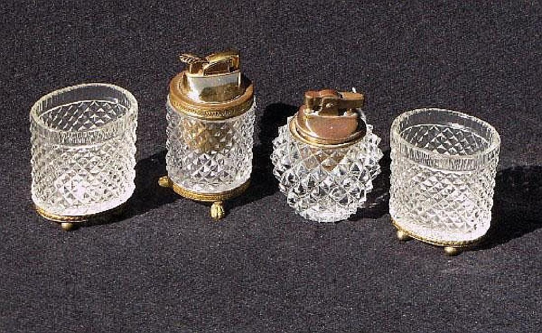 Four pieces French crystal cigarette articles.