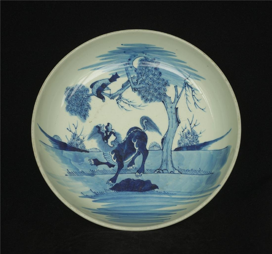Blue and white porcelain plate Ming Dynasty.
