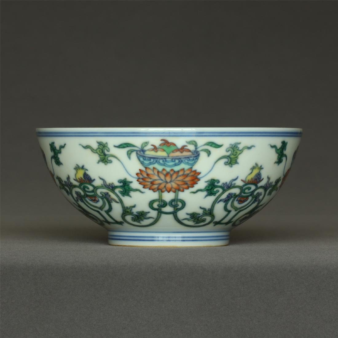 Doucai porcelain bowl of Qing Dynasty QianLong mark.