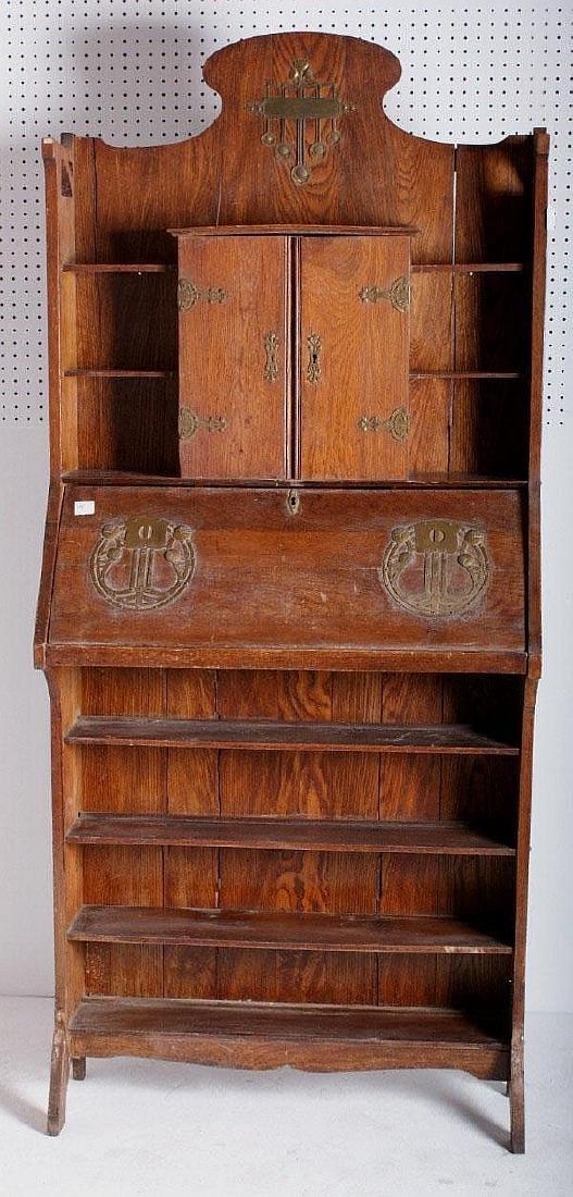 Art Nouveau oak and brass Larkin desk.