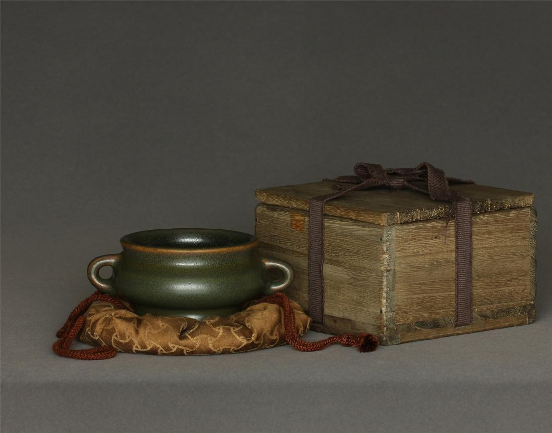 Tea glaze porcelain censer of Qing Dynasty QianLong