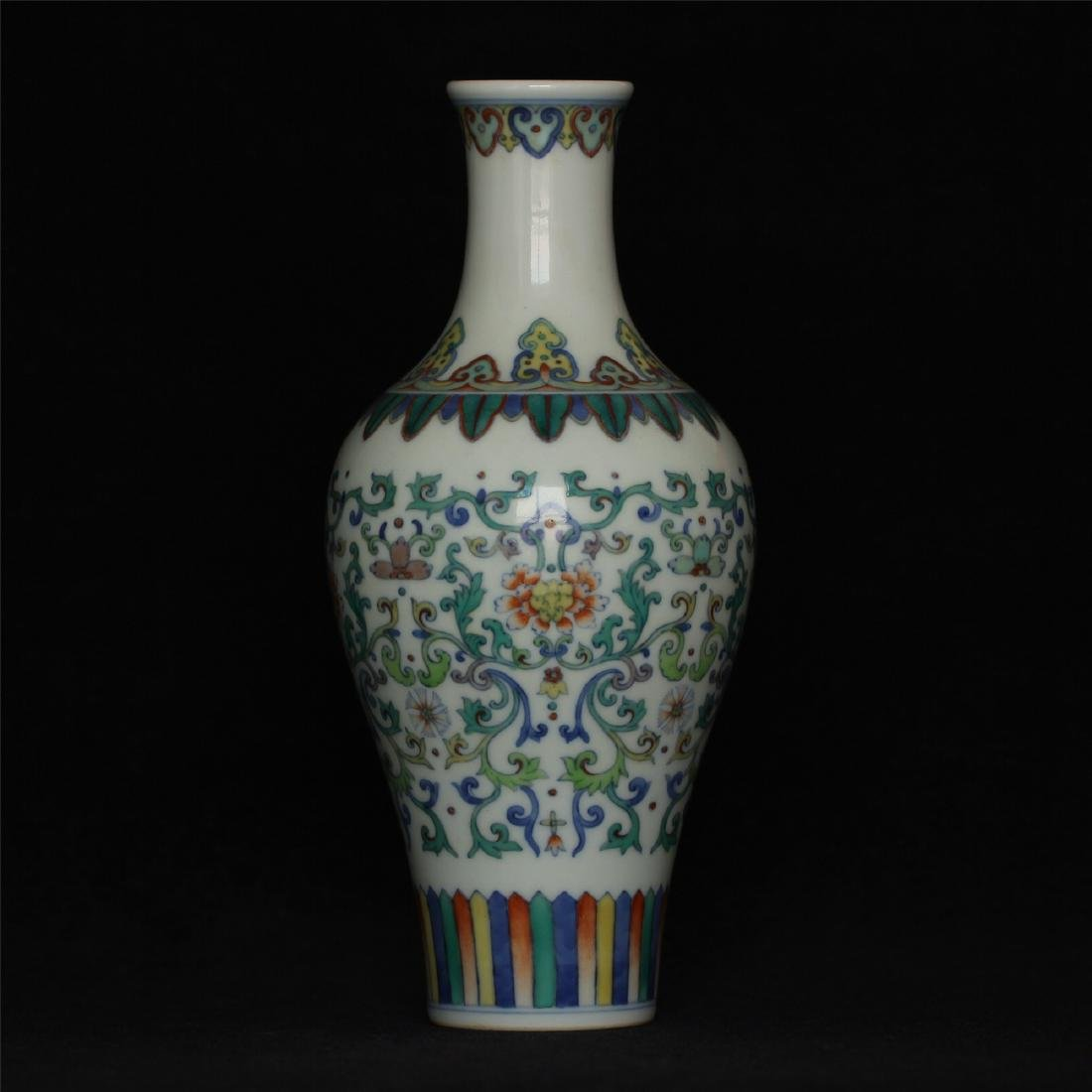 Doucai porcelain vase of Qing Dynasty YongZheng mark.