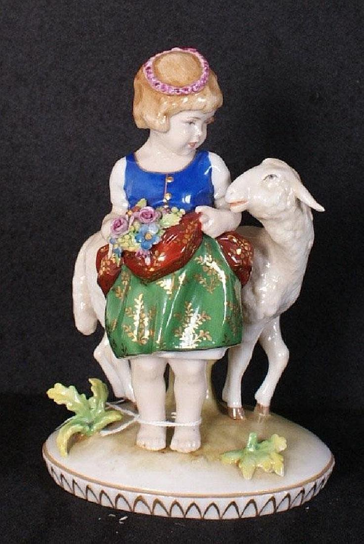 "Naples porcelain figural group ""Little Bo Peep""."