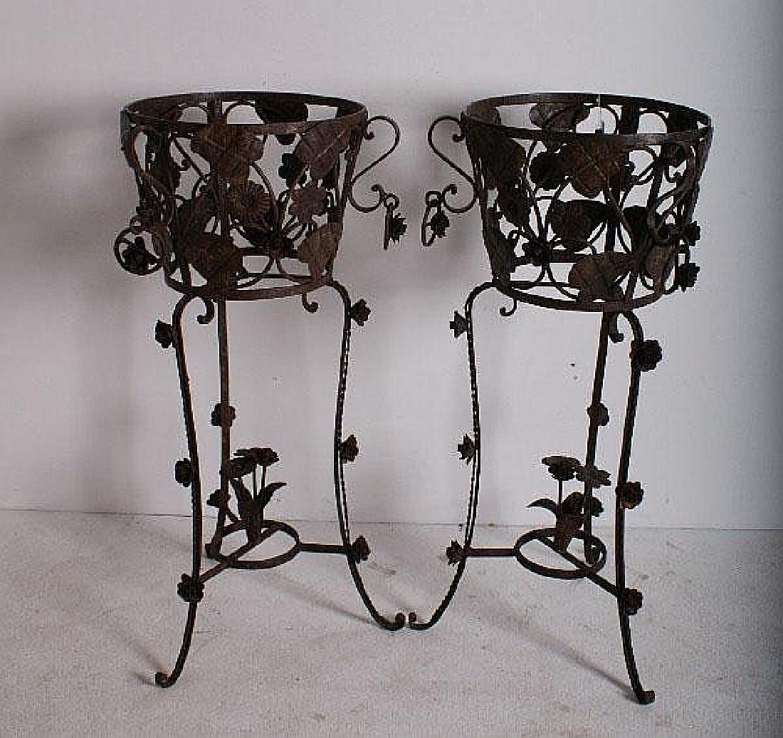 Pair of French wrought iron planters.