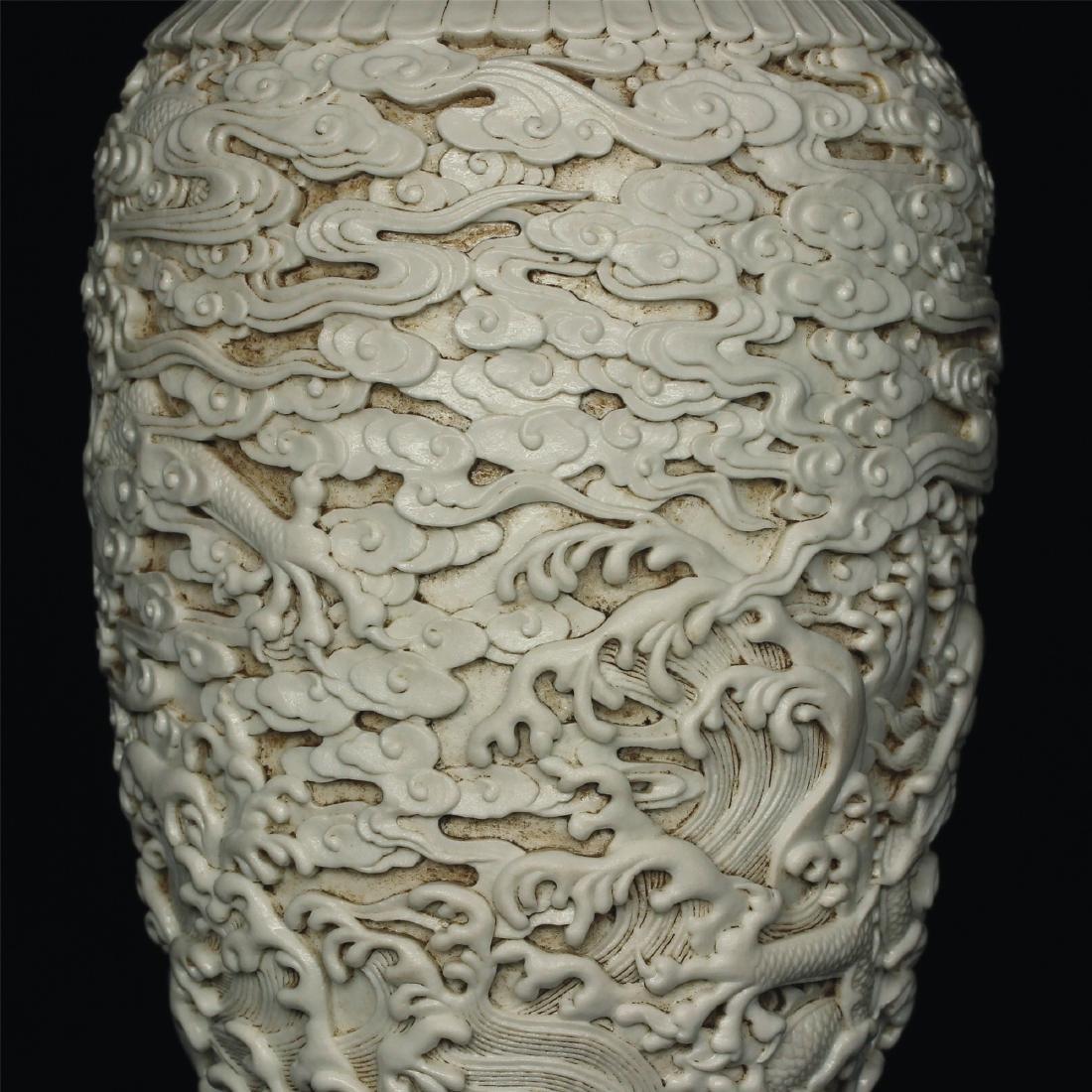 White glaze carving porcelain vase of Qing Dynasty - 4