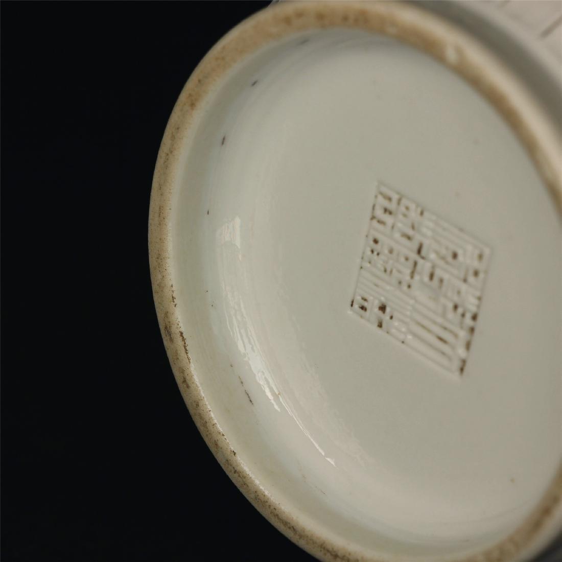 White glaze carving porcelain vase of Qing Dynasty - 7