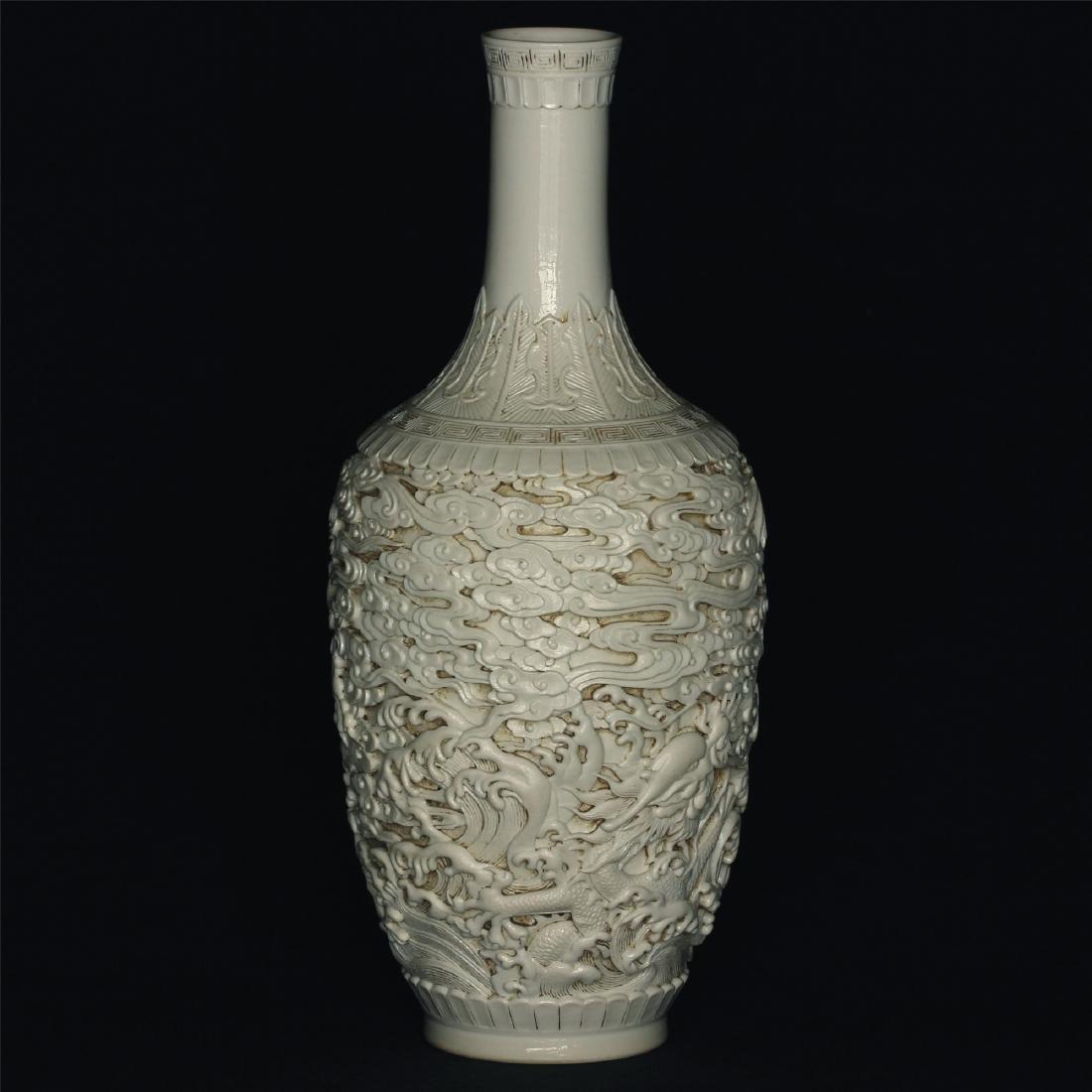 White glaze carving porcelain vase of Qing Dynasty - 9