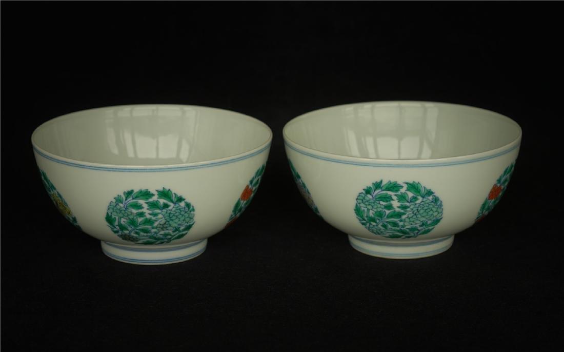 Pair Doucai porcelain bowls of Qing Dynasty KangXi - 3
