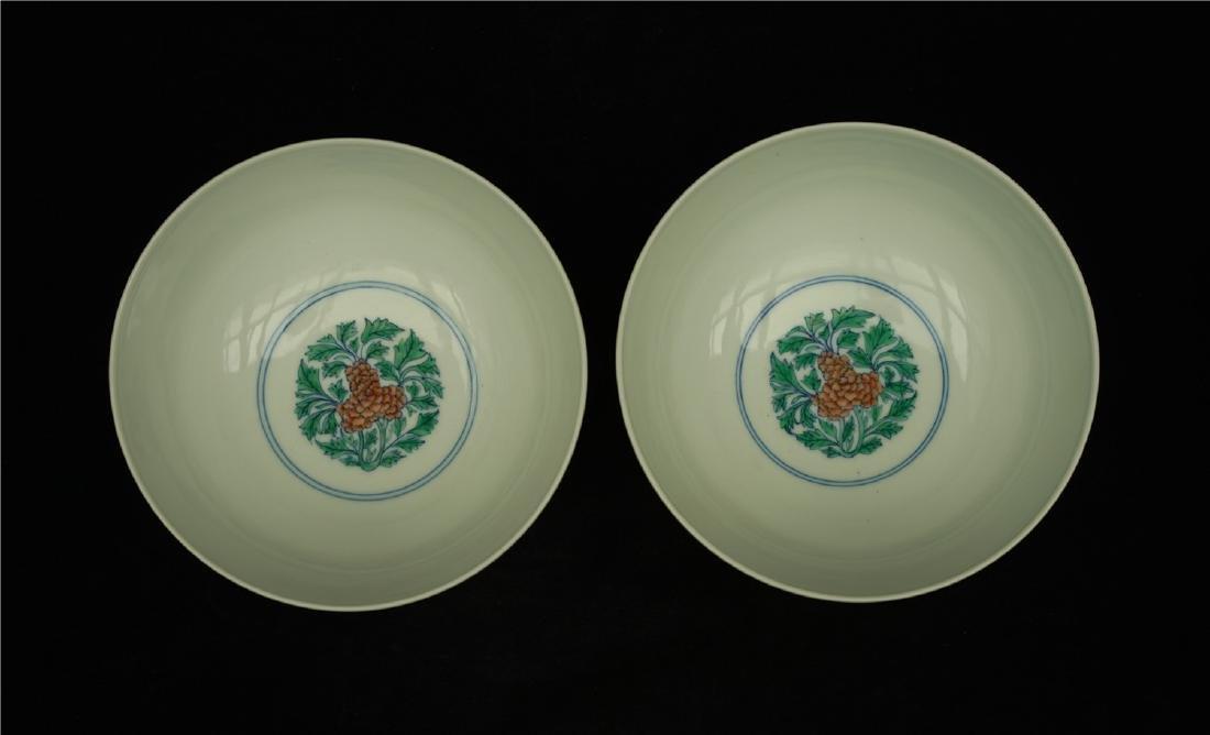 Pair Doucai porcelain bowls of Qing Dynasty KangXi - 4