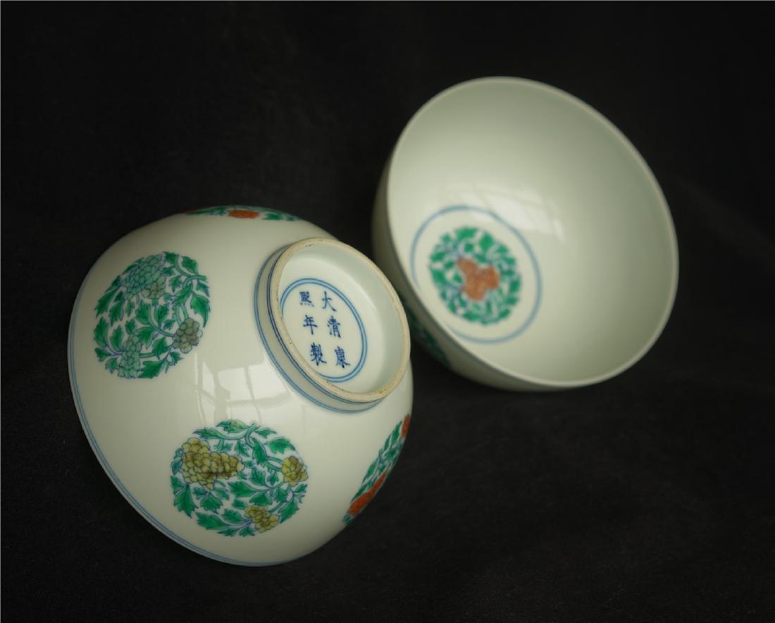 Pair Doucai porcelain bowls of Qing Dynasty KangXi - 6