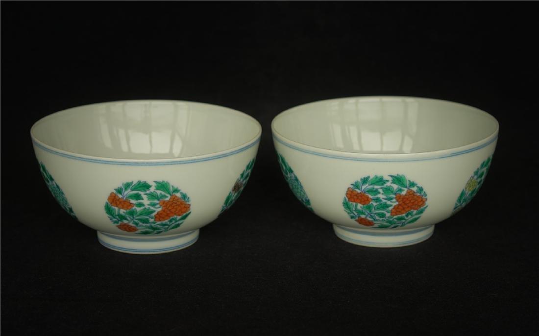 Pair Doucai porcelain bowls of Qing Dynasty KangXi - 9