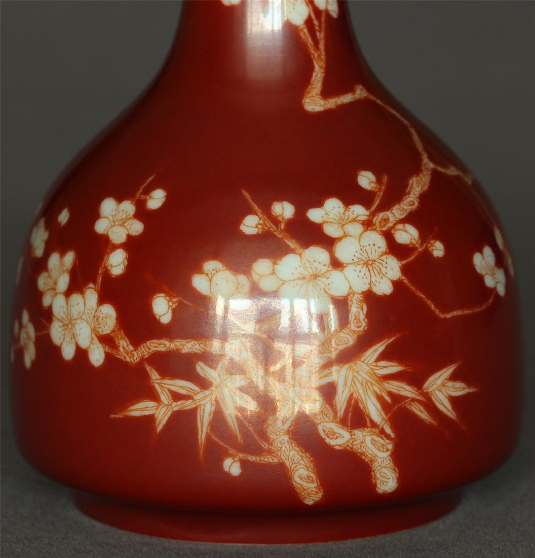 Red color porcelain small vase of Qing Dynasty - 7